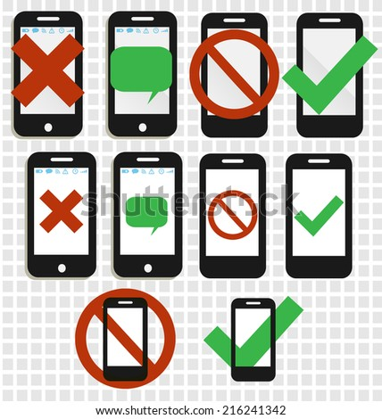Mobile phone icons, no phones allowed - stock vector