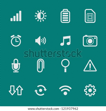 Mobile Phone Icons with Green Background