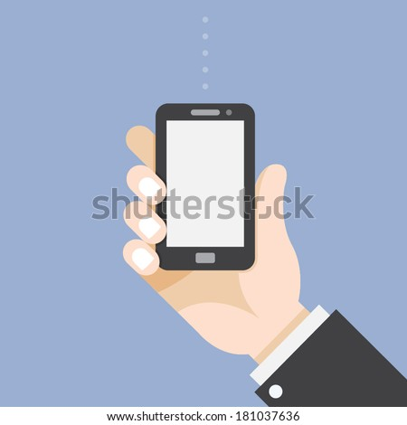Mobile Phone in Businessman hand - stock vector