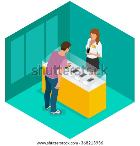 Mobile phone in shop. Sale, smartphone. Mobile phone in shop Flat, Mobile phone 3d, Mobile phone  isometric, Mobile phone, Mobile phone vector, Mobile phone  illustration for infographic.  - stock vector