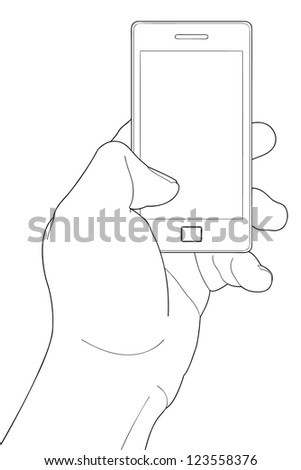 Mobile phone in the hand isolated on white