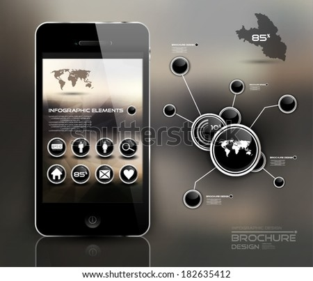 Mobile phone, info graphic - stock vector