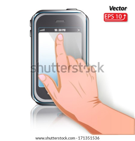 mobile phone isolated on white background, hand icon cursor, touch screen gesture, interface vector - stock vector
