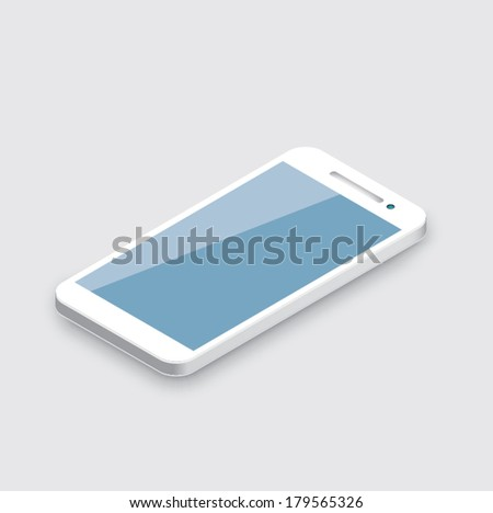 Mobile phone isolated on white. Realistic white 3d smartphone vector. - stock vector