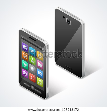 Mobile phone isometric and icons vector illustraion - stock vector
