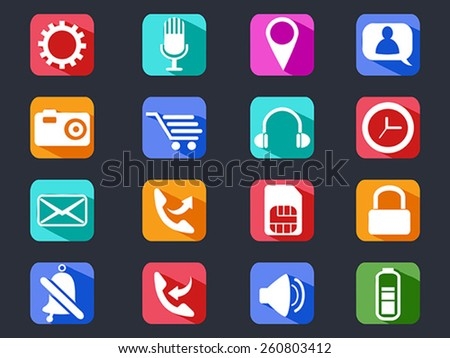 mobile phone long shadow icons set - stock vector