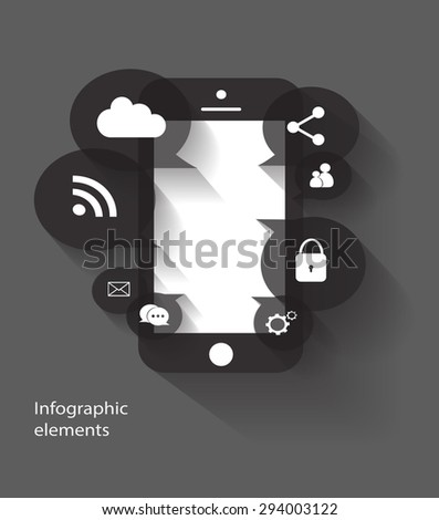 Mobile phone media icons vector for web use  - stock vector