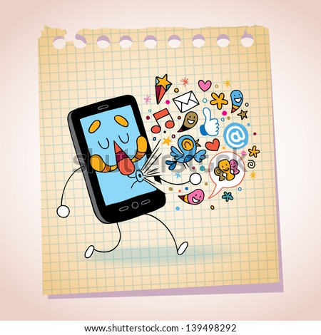 mobile phone note paper cartoon sketch - stock vector