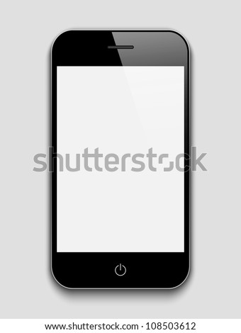 Mobile phone on a grey background. - stock vector