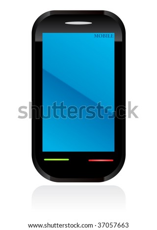 mobile phone on vector - stock vector