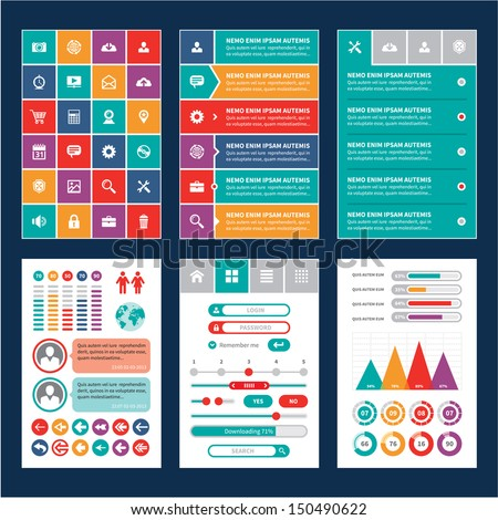 Mobile phone or tablet interface in flat style. Design Elements. Vector infographic template. Icons set.  - stock vector
