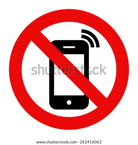 Mobile Phone prohibited. No cell phone sign isolated on white background - stock vector