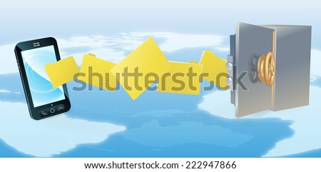 Mobile phone safe secure transfer backup concept of files moving from phone to safe with world in background. - stock vector