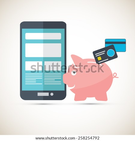 Mobile phone savings - Piggy bank with credit cards - stock vector