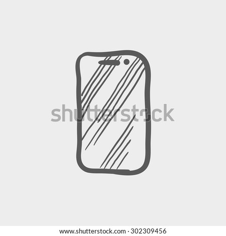 Mobile phone sketch icon for web and mobile. Hand drawn vector dark grey icon on light grey background. - stock vector