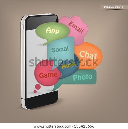 Mobile phone social media on retro style speech bubbles, Vector illustration template design - stock vector
