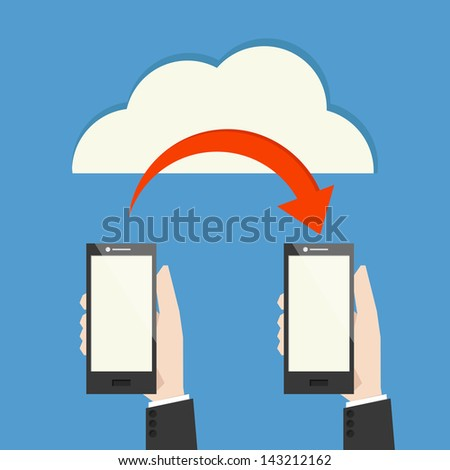 mobile phone transferring data from cloud, vector - stock vector