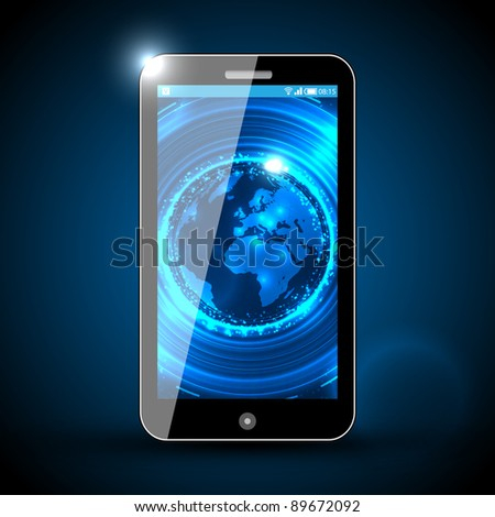 Mobile Phone - Traveling Vector Design - stock vector