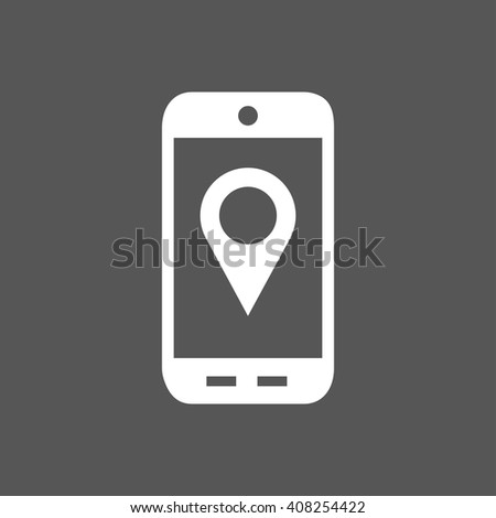 Mobile phone vector flat icon.GPS navigation concept, Smartphone,city application,marker pin pointer.Black,silhouette.Mobile phone Picture,Image,Graphic.Grey background,Illustration.Mobile phone icon - stock vector