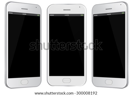 Mobile Phone Vector Illustration with different views. - stock vector
