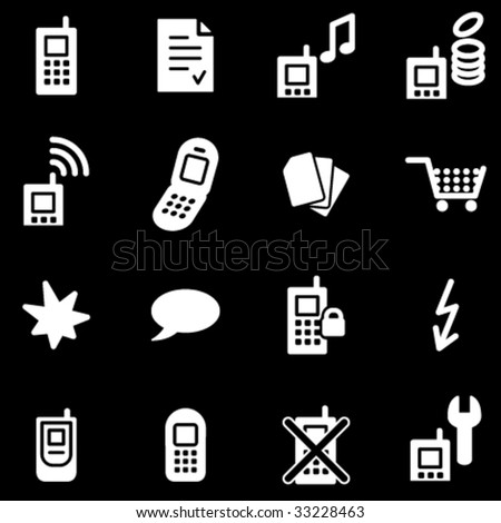 Mobile phone white web icons