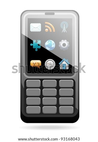 mobile phone with a set of icons on the display - stock vector