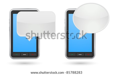 mobile phone with chat box - stock vector