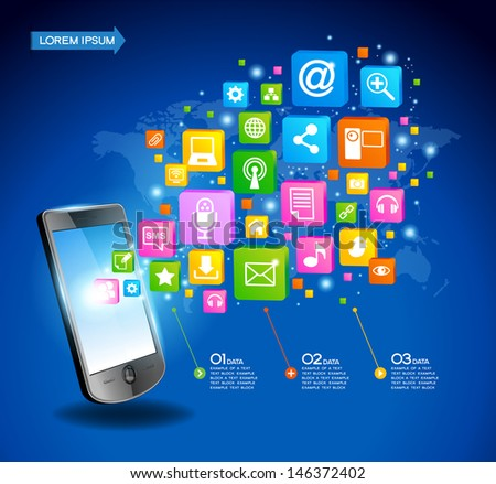 Mobile phone with cloud of application icons, concept network. Creative Business infographics and Information technology concept, Vector illustration modern template design. - stock vector