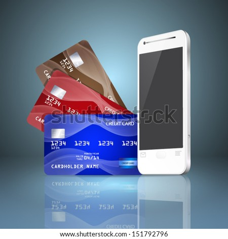 Mobile phone with credit cards on gray background. Mobile payment concept. EPS10 vector. - stock vector