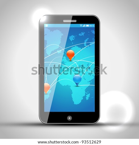 Mobile Phone with GPS navigation - Vector Design - Europe and Africa