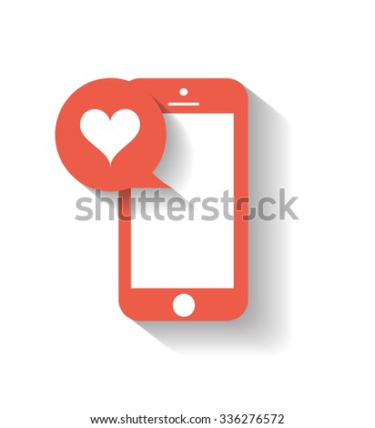 Mobile phone with heart icon red, Vector eps 10  - stock vector