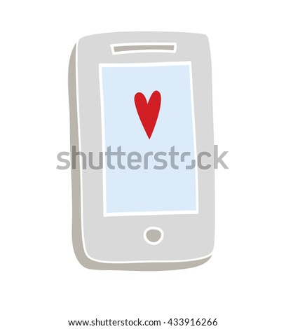Mobile phone with heart on screen, hand drawn cartoon - stock vector