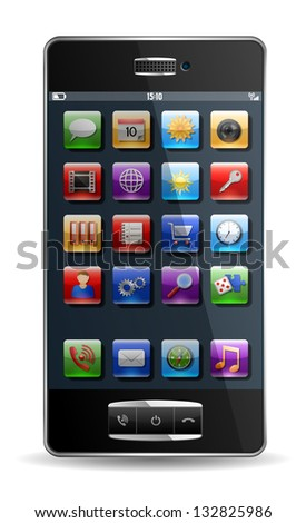 Mobile phone with icons, EPS 10, file contains transparency.
