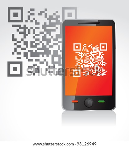 mobile phone with qr code - vector illustration - stock vector