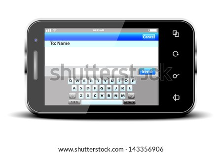 Mobile phone with sms menu screen. Space for text - stock vector