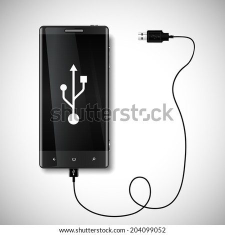 Mobile phone with USB connection - stock vector