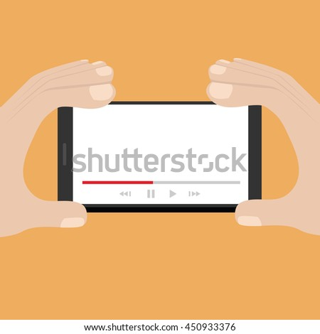 Mobile phone with video player on the screen in the human hands. vector - stock vector