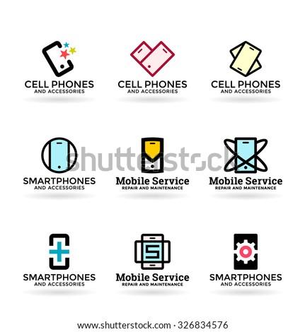 Mobile phones and smartphones (3) - stock vector