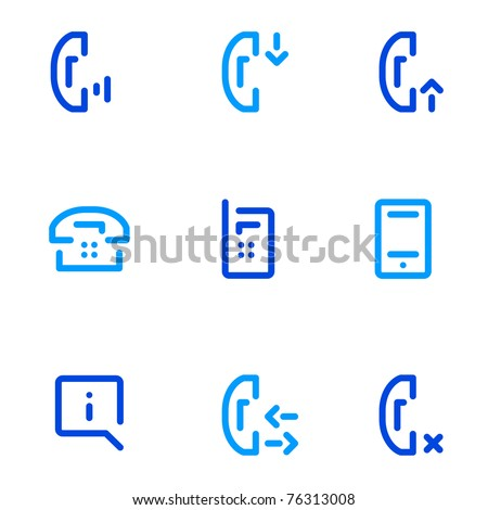 mobile phones call pictogrames - simple line icon - stock vector