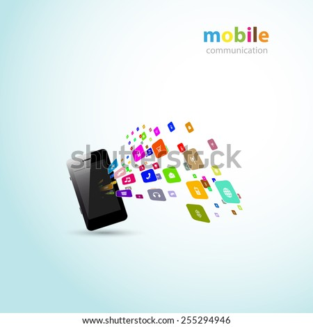 Mobile phones communication concept, easy all editable - stock vector