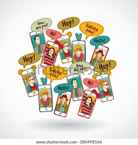 Mobile phones group happy communication people and shadow. Color vector illustration. EPS10
