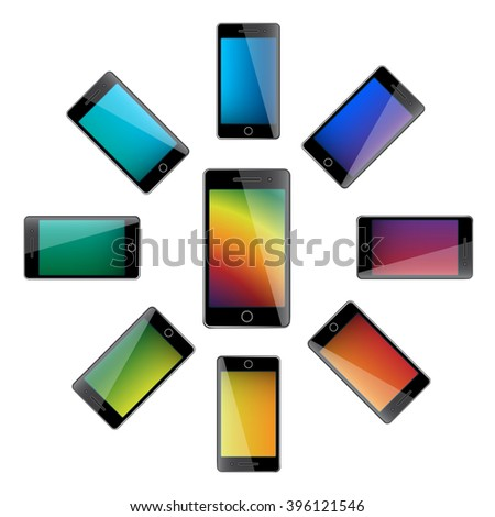 mobile phones on a white background - stock vector