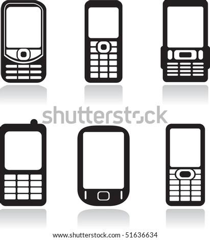 Mobile phones set. Vector illustration - stock vector