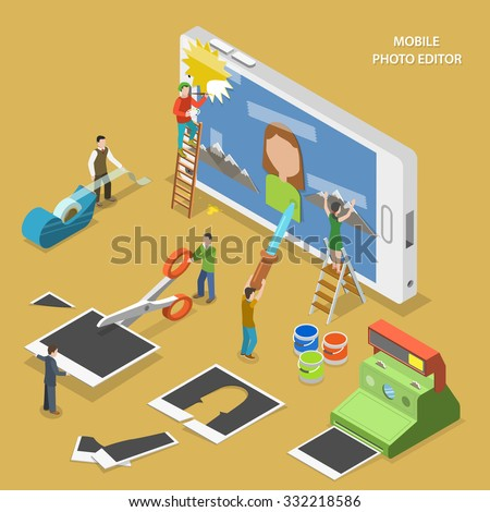 Mobile photo editor flat isometric vector concept. People create and image on smartphone using photos, sticky tape and paint. - stock vector
