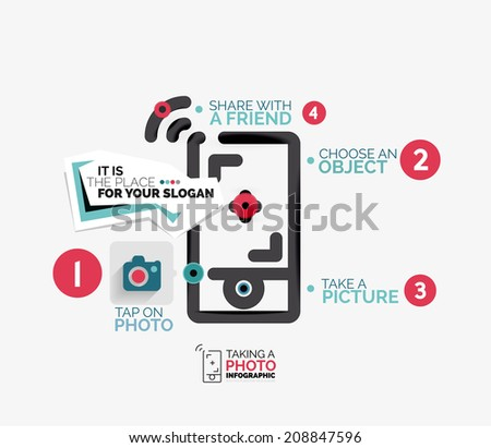 Mobile photo shooting - vector illustration of line flat concept - workflow layout, diagram, number options - stock vector