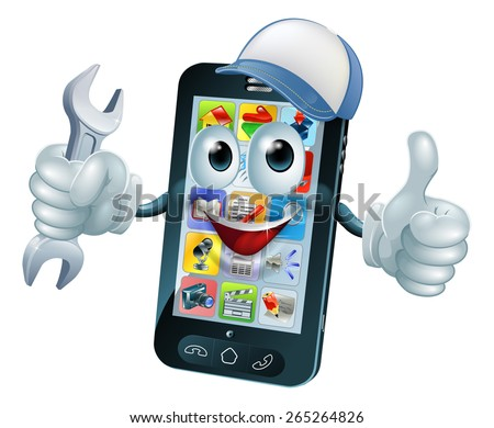Mobile repair mascot phone mascot person giving a thumbs up while holding a wrench or spanner and wearing a cap - stock vector