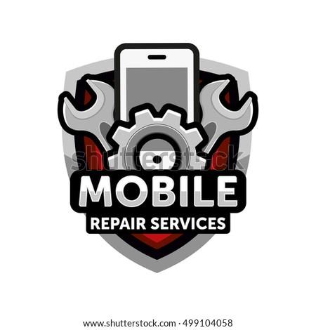 Mobile Repair Services Logo Icon Emblem Stock Vector