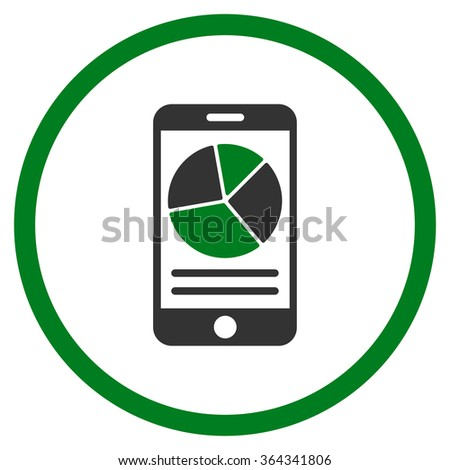 Mobile Report vector icon. Style is bicolor flat circled symbol, green and gray colors, rounded angles, white background. - stock vector