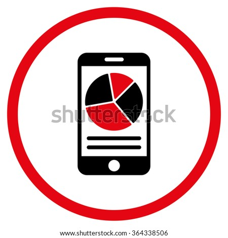 Mobile Report vector icon. Style is bicolor flat circled symbol, intensive red and black colors, rounded angles, white background. - stock vector
