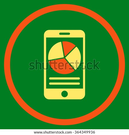 Mobile Report vector icon. Style is bicolor flat circled symbol, orange and yellow colors, rounded angles, green background. - stock vector